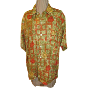 Boldy Printed Men's linen Ermenegildo Zenga Shirt - Red Tag Sale Item