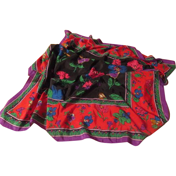 Flowers on Block Background Scarf - Free shipping - b211