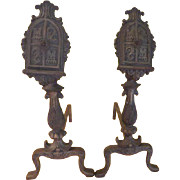 Castle-worthy Shield Andirons - g