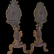 Castle-worthy Shield Andirons - g