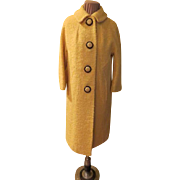 Bold Buttons Yellow Boucle Coat