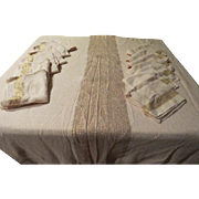 Ivory with Gold Threads Chicago Weaving Co. Tablecloth and Napkins - L1