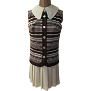 Striped Vest over Hip Pleated Dress