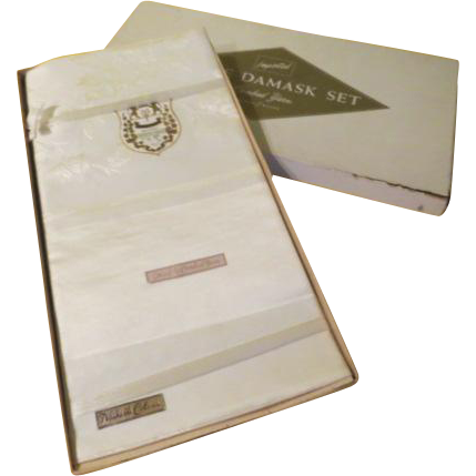 White on White Damask Tablecloth in Box