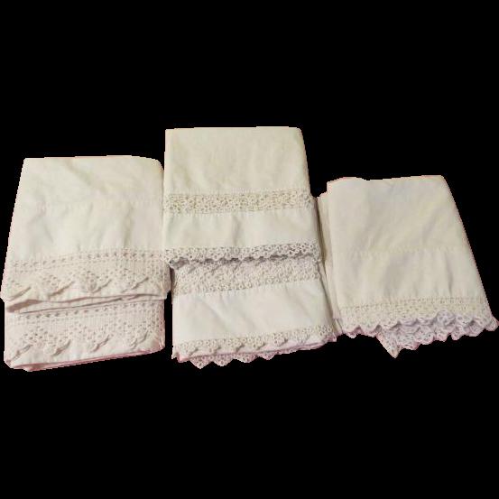 Crochet Trim Pillow Cases - L9