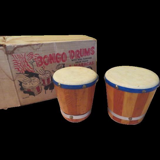 Real Rawhide Werco Bongo Drums - b210