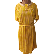 Lane Bryant Yellow/white Polka Dot Shirtwaist