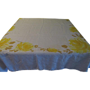 Vera Yellow and Gold border Print Tablecloth - b201
