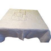 White on White Lily of the Valley Damask Tablecloth and napkins - CL