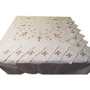 Dainty Pink Flowers on Snowy White Tablecloth and Napkins - L2