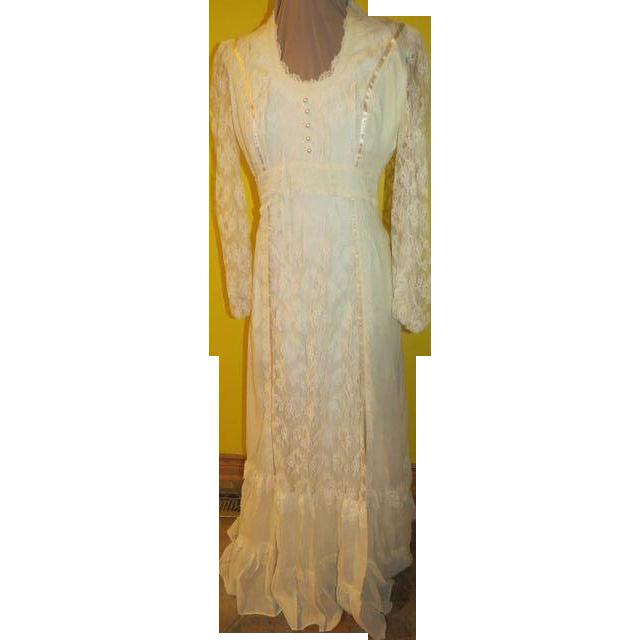 Flower Child 70's Maxi Wedding/prom Dress