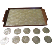 Mother of Pearl Mica Serving Tray and Coasters - b