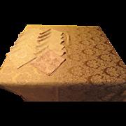 Gilded Golden Damask Tablecloth and Napkins - L2