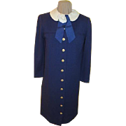 White Rose on Navy Coat dress