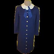 White Rose on Navy Coat dress