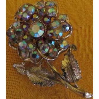 Glittering Flower Aurora Borealis Pin - Free shipping