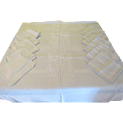 Palest Blue on Blue Damask Tablecloth and Napkins - L5