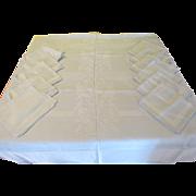 Palest Blue on Blue Damask Tablecloth and Napkins - L5