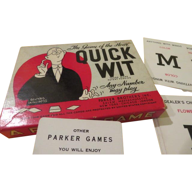 Quick Wit Parker Bros Card Game - B215