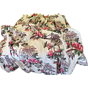 Hibiscus Print Barkcloth Drapes