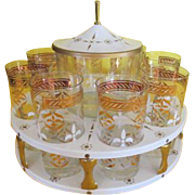 On a Carousel Drink Caddy with Glasses and Ice bucket - g