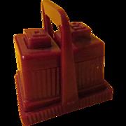 Cavanite Salt and Pepper Shakers on Tray - b220