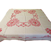 X-stitched Red Roses Tablecloth - b220