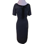 Black Velvet Bow Wiggle dress