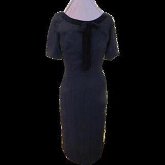 Black Velvet Bow Wiggle dress