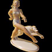Lady with Borzai Russian wolfhound Wallendorff Schanbach Figurine - LR