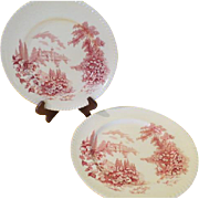 Johnson Bros. Castle on the Lake Pink Bread and Butter Plates - b214