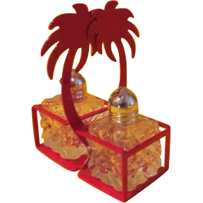 Salt and Pepper Shakers on Red Palm Tray - b212