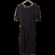 Satin Bound Navy Shirtwaist Dress