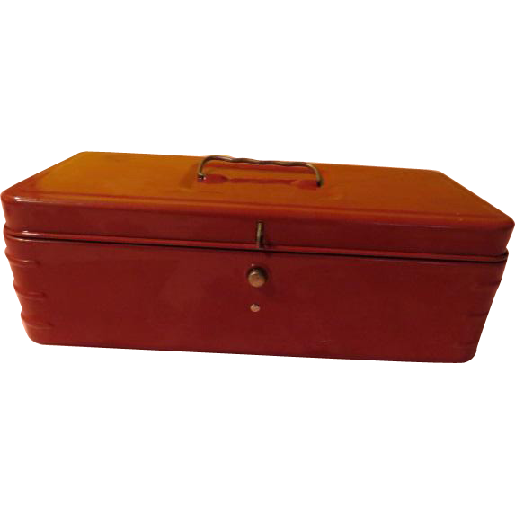 Red Metal Cash Box - b221