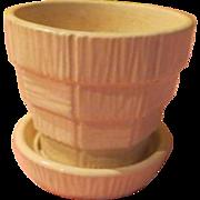 Tiny White McCoy Basketweave Flower Pot - b221