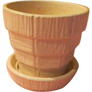Tiny White McCoy Basketweave Flower Pot - b221