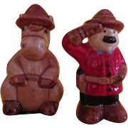 Mountie and Faithful Horse Salt and Pepper Shakers - b220