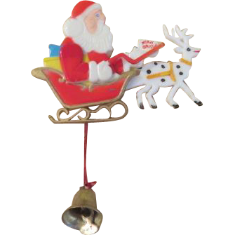 Santa and Reindeer Animated Pin - Free shipping