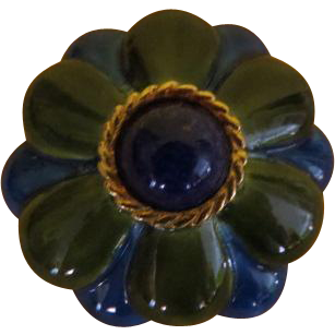 Blue and Green Enamel Flower Pin - Free shipping
