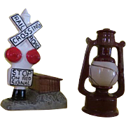 Railroad Crossing and Lantern Salt and Pepper Shaker - b220