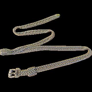 Slender Silver Tone Beaded Belt - Free shipping