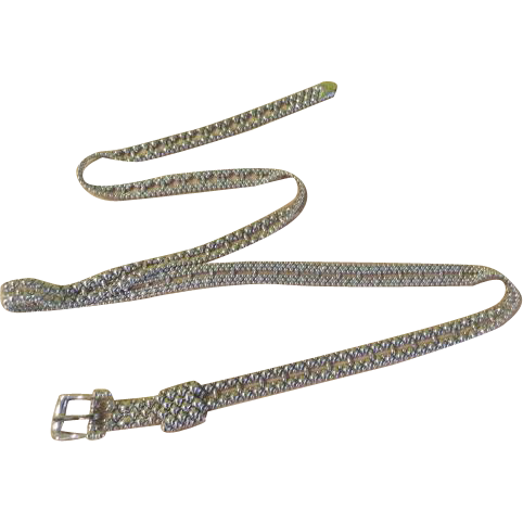 Slender Silver Tone Beaded Belt - Free shipping