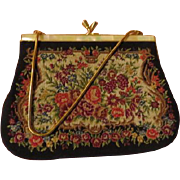 Needlepoint Flower Handbag with Mother of Pearl Handbag - b217