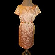 Pale Pink Damask Dress with Flower Trim Belt