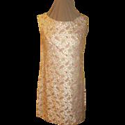 Gold Highlighted Pink Paisley Brocade Dress/skimmer