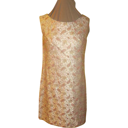 Gold Highlighted Pink Paisley Brocade Dress/skimmer