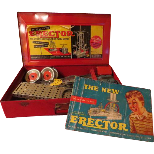 World's Greatest Construction Toy Gilbert 6 1/2 Erector Set in Red Metal Box - b