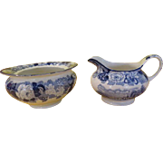 Woods and Sons English scenery Blue Creamer and Sugar Bowl - b214