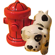 Spotted Dog and Hydrant Salt and Pepper Shakers - b227