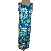 Blue Hawaiian Hibiscus Print Dress